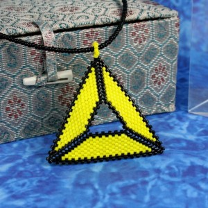 Beaded Triangle Necklace // Yellow and Black // Beadwork