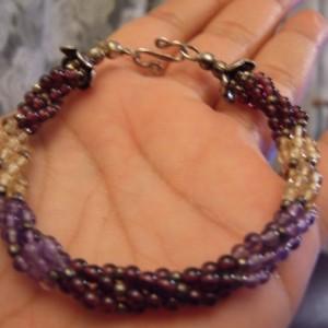 Amethyst Citrine Garnet Sterling Woven Creation Bracelet