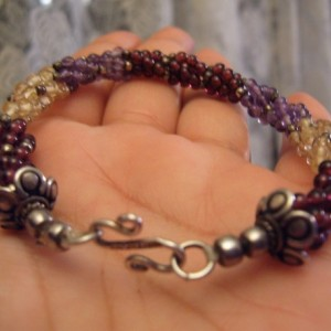 Amethyst Citrine Garnet Sterling Woven Creation Bracelet