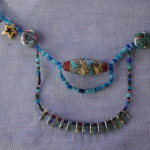 necklace of celestial beads in blue