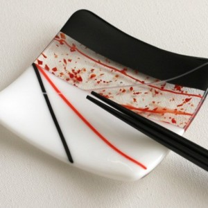 Fused Glass Square Red and Black Sushi Set