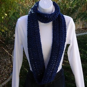 INFINITY SCARF Loop Cowl, Dark & Medium Blue, Super Soft Lightweight Crochet Knit Winter Eternity Wrap, Neck Warmer..Ready To Ship In 2 Days