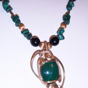 Gold Fill Wrapped Malachite Pendant Malachite Onyx Creation