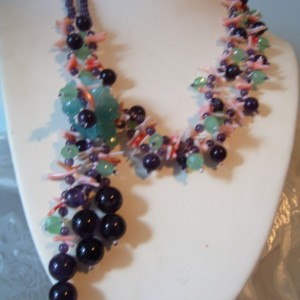 Mother Of Pearl Butterfly Pendant Vintage Bead Necklace