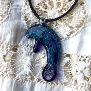 Hand Blown Glass Cobalt Blue Manatee Pendant or Focal Bead