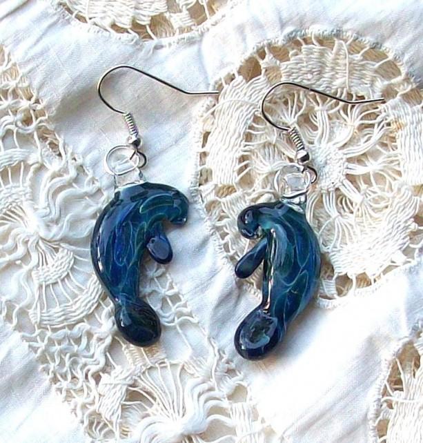 Hand Sculpted Glass Blue Moon Manatee Earrings