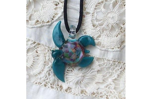Hand Blown Glass Aqua Sea Turtle Pendant, Necklace, Focal Bead