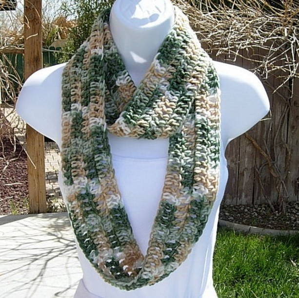 SUMMER INFINITY SCARF Green, Tan, Off White, Small Skinny Lightweight Crochet Knit Loop Circle Eternity Cowl..Ready to Ship in 2 Days