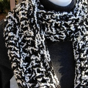 INFINITY SCARF Loop Cowl, Black & White Extra Thick Bulky Long Warm Soft Crochet Knit Winter Circle, Neck Warmer..Ready to Ship in 3 Days