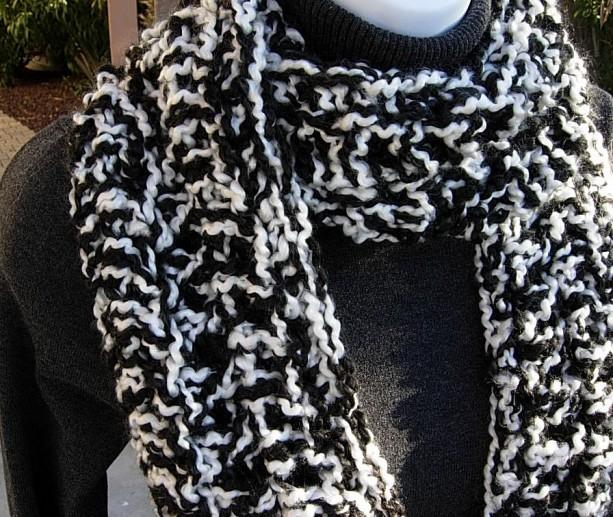 Bulky Black White Handmade Crochet Knit Infinity Scarf Aftcra