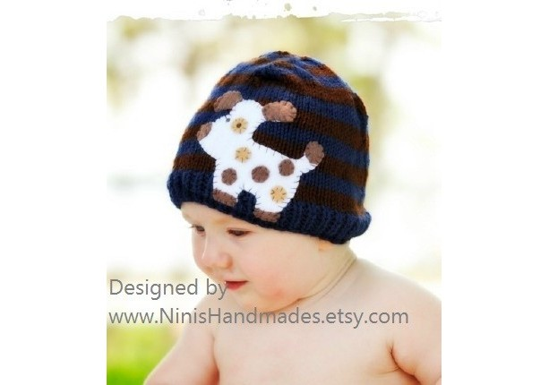 Knit Boys Dog Beanie with Dog inspired applique, Made in the USA,  toddler beanies, baby applique hats, kids fashion,  boys clothing, Hats