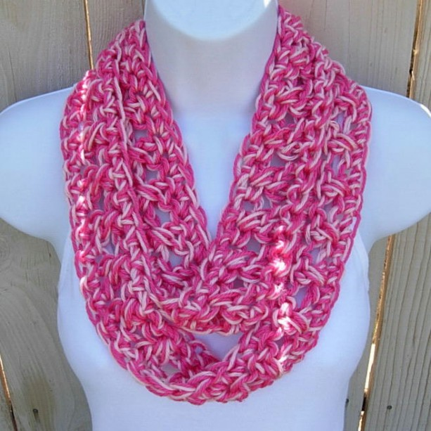 Womens Soft Silky Hot Light Pink Summer Infinity Scarf Aftcra