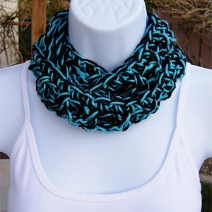 SUMMER SCARF Infinity Loop Cowl, Black & Bright Turquoise Blue, Soft Small Lightweight Handmade Crochet Necklace, Women's Neck Tie..Ready to Ship in 3 Days