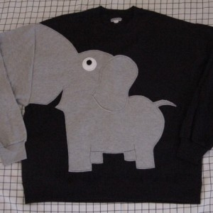 Elephant Trunk sleeve sweatshirt, sweater. jumper. unisex adult size XLarge, Black