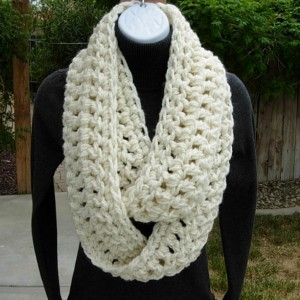 INFINITY SCARF Loop Cowl Winter White, Ivory, Light Cream Crochet Knit Extra Thick Soft 100% Acrylic, Neck Warmer..Ready to Ship in 3 Days