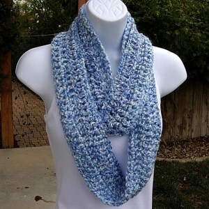 Small Skinny Blue and White INFINITY SCARF Loop Cowl, Soft Crochet Knit Narrow Circle Scarf, Winter Neck Warmer, Ready to Ship in 3 Days