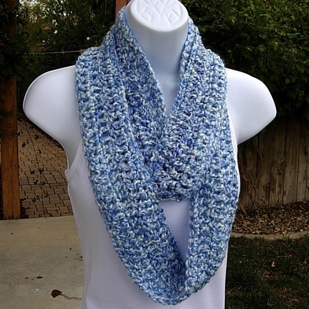 INFINITY SCARF Loop Cowl Small Size Blue & White Multicolor, Soft Crochet Knit Skinny Circle, Winter Neck Warmer..Ready to Ship in 3 Days