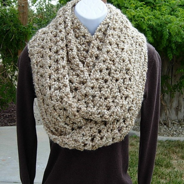 INFINITY SCARF Loop Cowl Solid Beige Light Tan, Extra Long Soft Thick Bulky Chunky Crochet Knit Winter Circle Eternity Scarf, Ready to Ship in 3 Days