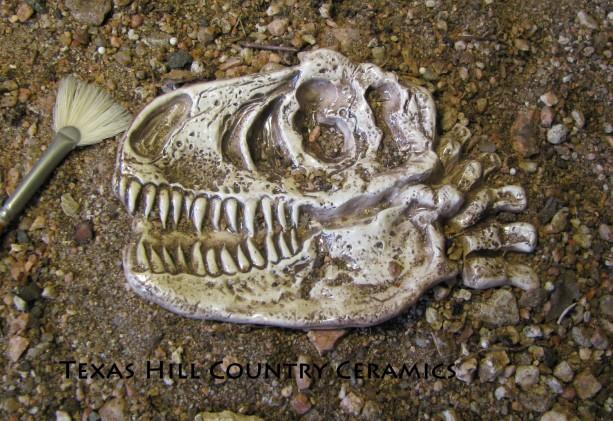 T Rex Dinosaur Fossil Skull Ceramic Tea Bag Holder Spoon