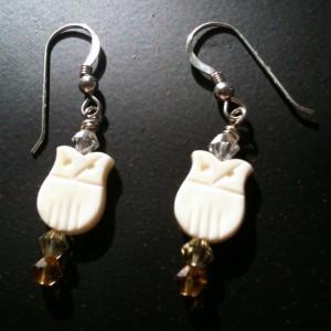 Snowy Owl Earrings- Vintage Beads and Crystal