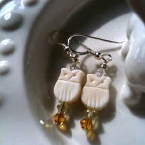 Snowy Owl Earrings- Vintage Beads and Crystal