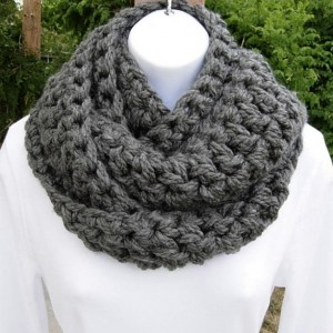 Solid Gray Bulky INFINITY SCARF Loop Cowl Solid Medium Dark Gray Grey Extra Soft Thick Crochet Knit Winter Circle Wrap, Neck Warmer, Ready to Ship in 3 Days