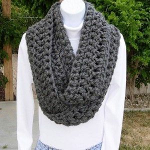 INFINITY SCARF Loop Cowl Solid Medium Dark Gray Grey Extra Soft Thick Crochet Knit Winter Circle Wrap, Neck Warmer..Ready to Ship in 2 Days