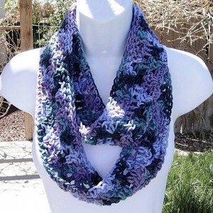 SUMMER INFINITY SCARF Cowl Loop, Purple, Teal Blue Green, Soft Lightweight Crochet Knit Endless Circle, Neck Warmer..Ready to Ship in 2 Days
