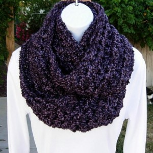 Dark Purple Infinity Loop Cowl Scarf, Chunky Bulky Extra Soft Silky Crochet Knit Eternity Circle Scarf, Thick Neck Warmer, Ready to Ship in 3 Days