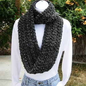 INFINITY LOOP SCARF Black Dark Gray Grey Charcoal Extra Soft Winter Neck Warmer, Endless Eternity Ring Circle Cowl..Ready to Ship in 3 Days