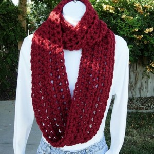 INFINITY LOOP SCARF Cranberry Dark Solid Red, Soft Wool Acrylic Winter Loop Endless Circle Cowl Wrap, Neck Warmer..Ready to Ship in 3 Days