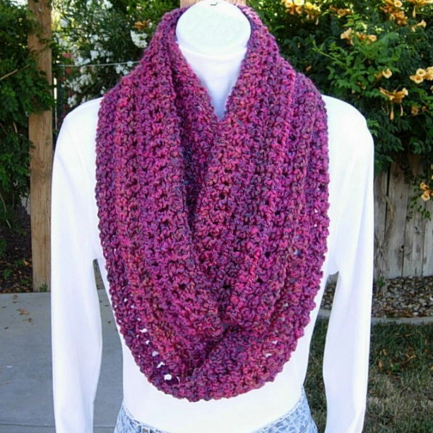 INFINITY SCARF Loop Cowl Purple Magenta Bright Pink Dark Blue, Soft Long Crochet Knit Endless Circle Winter..Ready to Ship in 2 Days