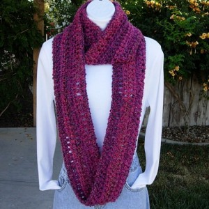 INFINITY SCARF Loop Cowl Purple Magenta Bright Pink Dark Blue, Soft Long Crochet Knit Endless Circle Winter..Ready to Ship in 3 Days