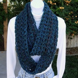 Skinny Winter Infinity Loop Scarf, Chunky Women's Cowl, Dark Teal Blue Green Red, Extra Thick Soft Smooth Warm, Long Endless Circle ..Ready to Ship in 3 Days