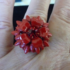 Red Enamel and Rhinestone Ring