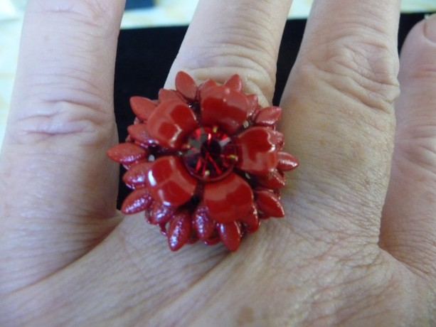 Red Enamel and Rhinestone Ring