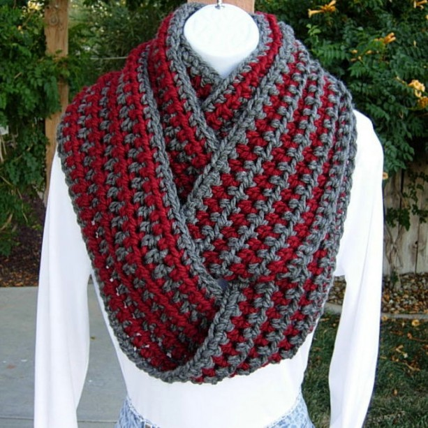 WINTER INFINITY SCARF Loop Cowl Dark Red & Charcoal Gray Grey Striped, Extra Long Soft Crochet Knit Endless Circle..Ready to Ship in 5 Days
