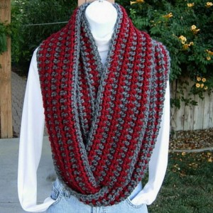 WINTER INFINITY SCARF Loop Cowl Dark Red & Charcoal Gray Grey Striped, Extra Long Soft Crochet Knit Endless Circle..Ready to Ship in 3 Days