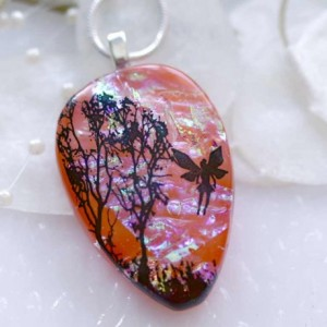Dichroic Fused Glass Pendant Sunrise Tree with Fairy 00873