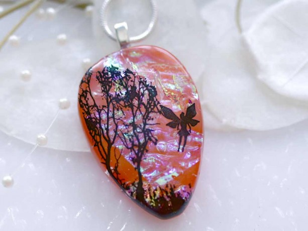 Dichroic Fused Glass Pendant Sunrise Tree with Fairy 00873