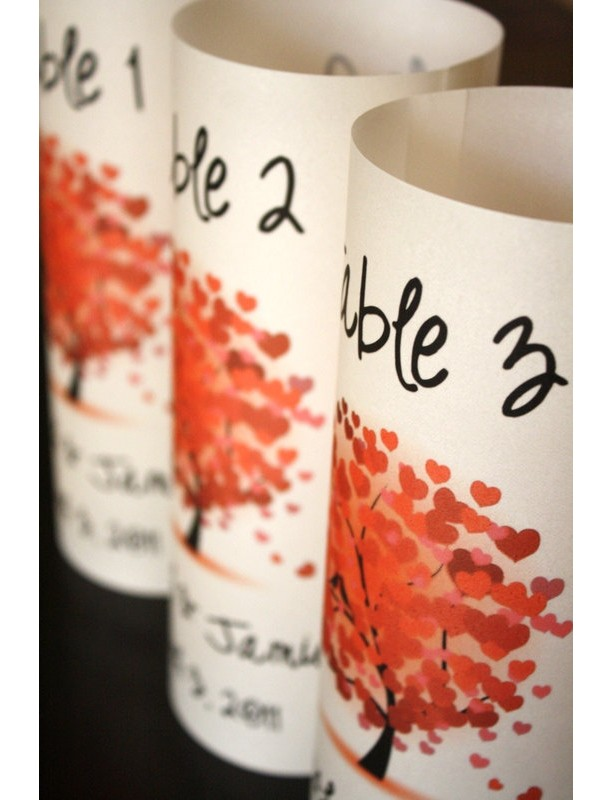 Table Number Luminaries - Red Heart Tree Design - Set of 5