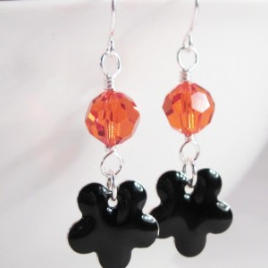 Halloween Black and Orange Crystal Dangle Earrings With  Flower by LetaMarieDesigns