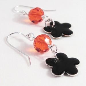 Halloween Black and Orange Crystal Dangle Earrings With  Flower by LetaMarieDesigns