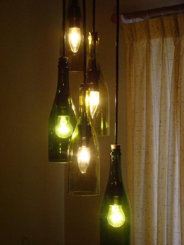 Cascading wine bottle chandelier aftcra - Wine bottles chandelier ...