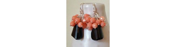 Jet Black Onyx & Angelskin Coral gemstone earrings. Sterling silver,coral earrings, onyx earrings, black and coral,angelskin coral, earrings
