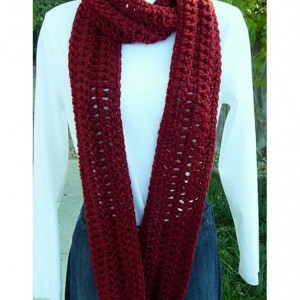 Long Dark Red INFINITY SCARF Loop Cowl,Dark Solid Red Extra Soft Bulky Warm Crochet Knit Winter Eternity Circle, Neck Warmer..Ready to Ship in 3 Days