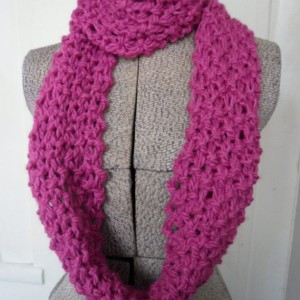 Pink Chunky Knit Infinity Scarf, Warm Eternity Loop Scarf, Cowl Scarf, Gift For Her