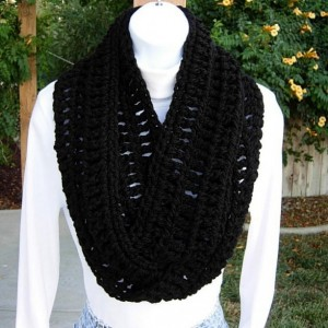 INFINITY LOOP SCARF Solid Basic Black, Extra Soft Warm Crochet Knit 100% Acrylic Winter Cowl Endless Circle Wrap, Ready to Ship in 3 Days