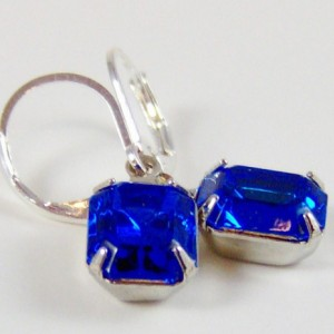 Sapphire Blue Rhinestone Earrings / silver / September birthstone