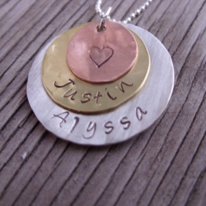 Hand stamped pendant-sterling silver, brass and copper personalized charms mommy jewelry